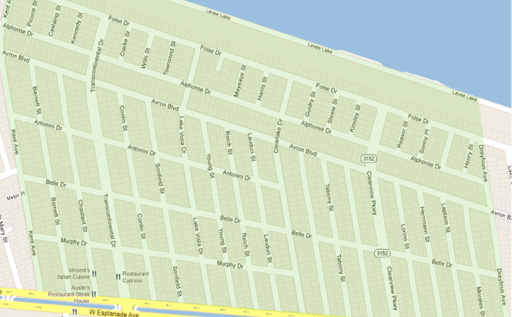 Pontchartrain Shores Neighborhood Map